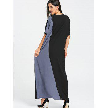 Color Block Long Dress - BLUE/BLACK ONE SIZE