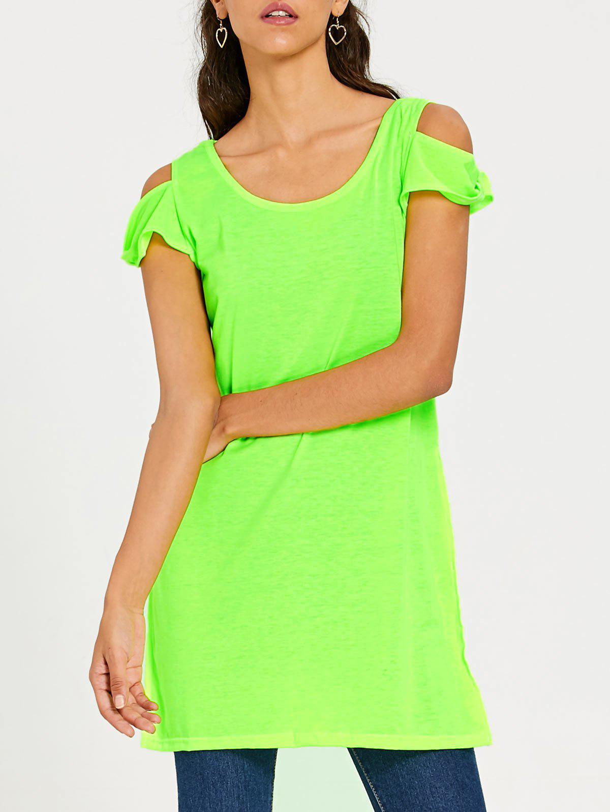 2018 long slit cold shoulder t shirt neon green l in tees for Bright green t shirt dress