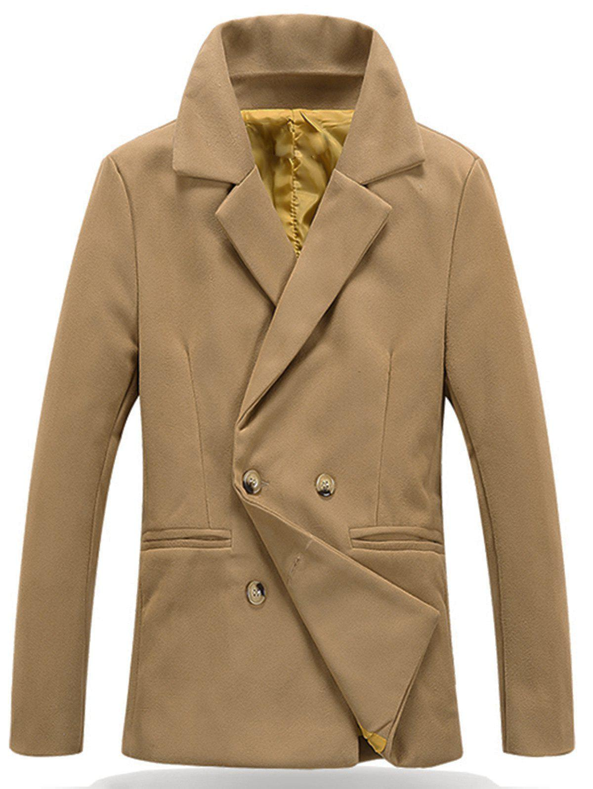 Notch Lapel Button Cuff Peacoat Jacket - KHAKI 3XL