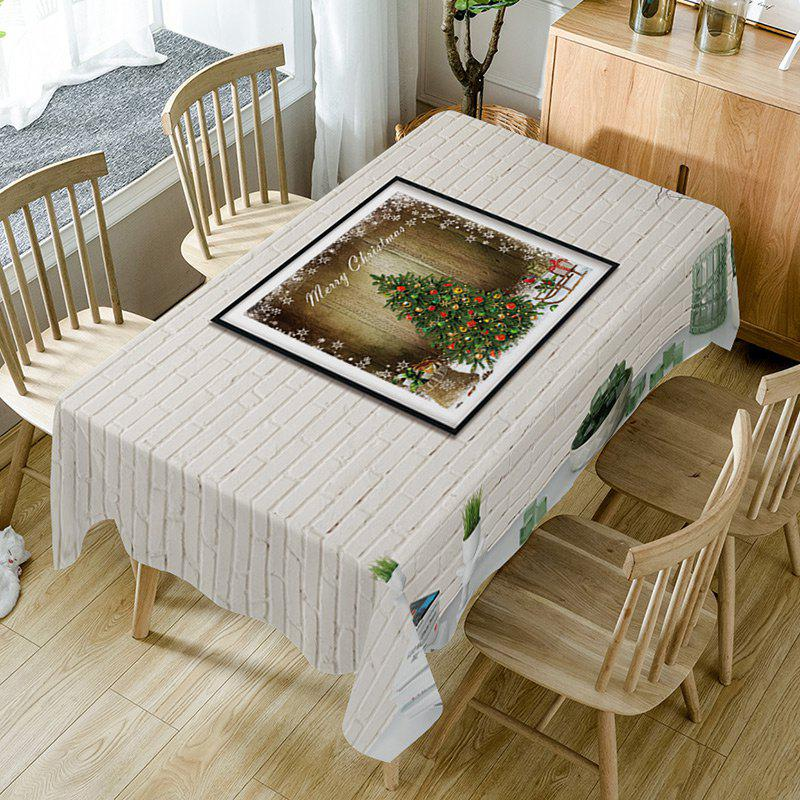 Christmas Tree Brick Wall Print Waterproof Table Cloth - WHITE W54 INCH * L72 INCH