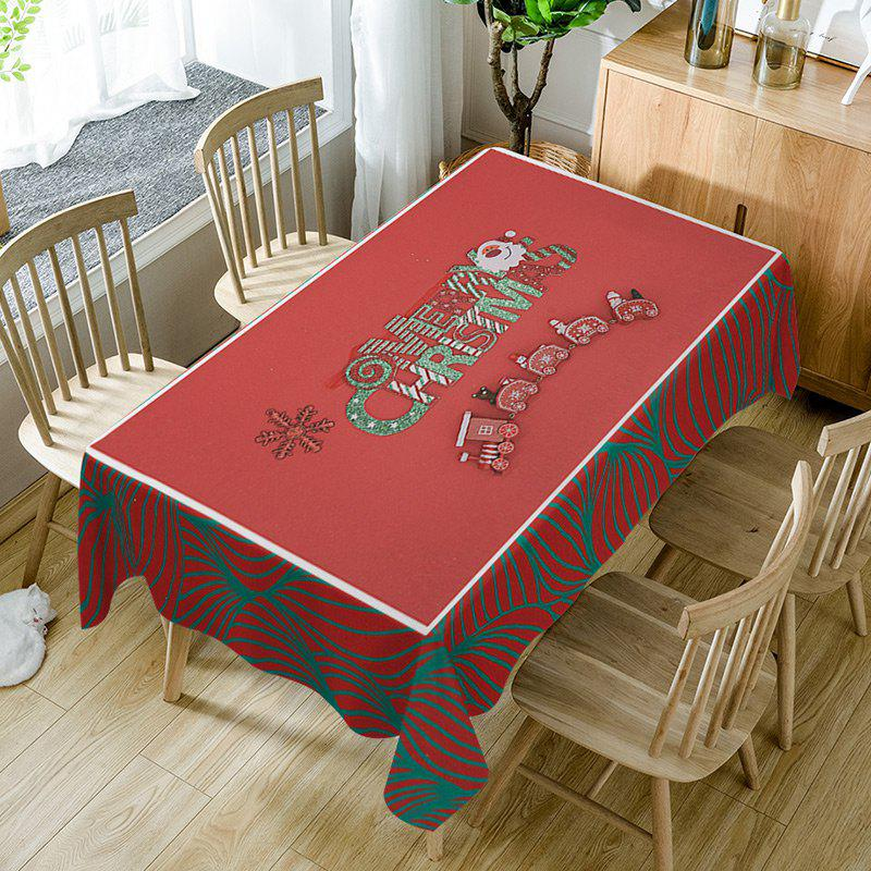 Merry Christmas Train Print Waterproof Table Cloth - RED W60 INCH * L84 INCH