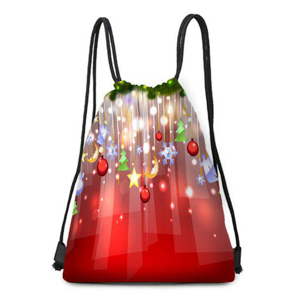Hanging Ornaments Pattern Christmas Candy Bag Drawstring Backpack - COLORFUL