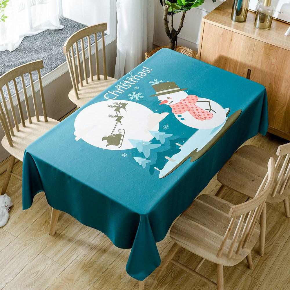 Christmas Moon Snowman Print Waterproof Table Cloth christmas home decor snowman double table mat