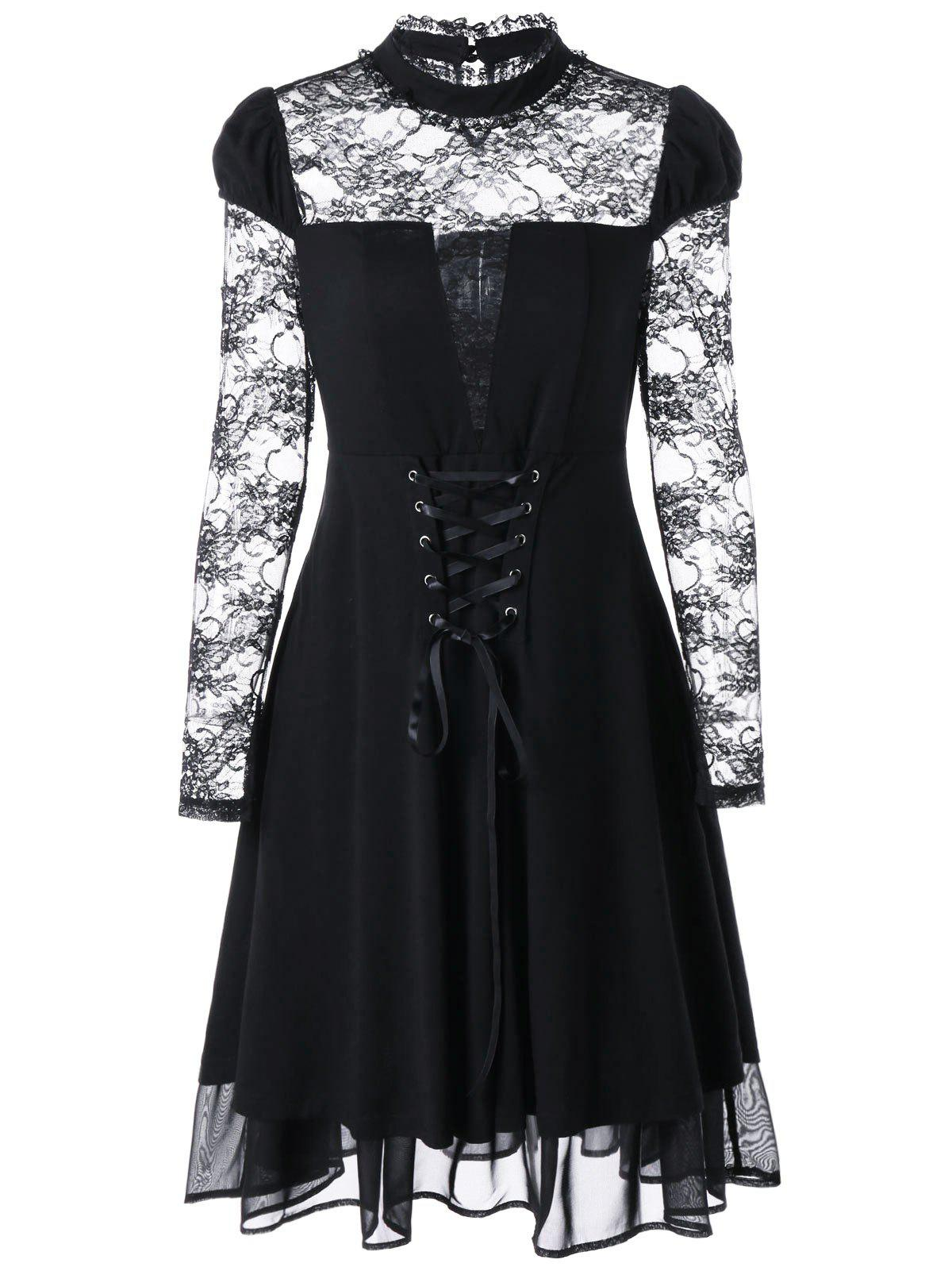 Gothic Sheer Lace Up Fit and Flare Dress - BLACK M