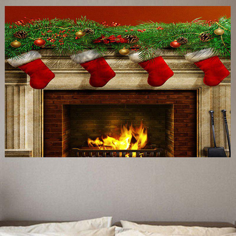 Christmas Burning Fireplace Printed Wall Sticker xeltek private seat tqfp64 ta050 b006 burning test