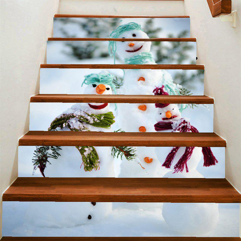 Snowman Family Print Removable Stair Art Stickers   COLORFUL 100*18CM*6PCS