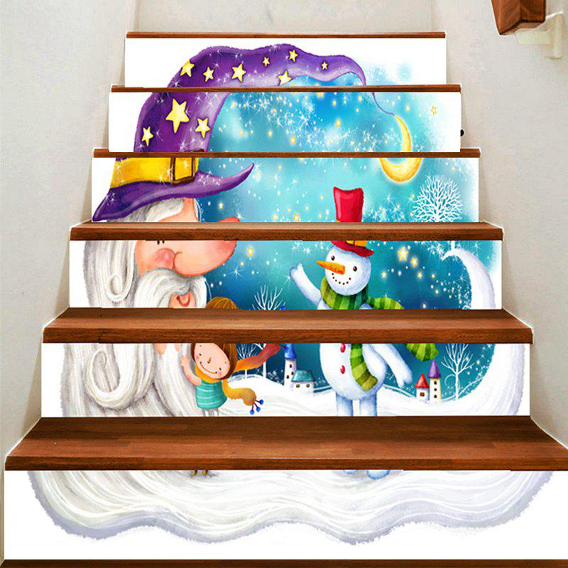 Crescent Moon and Snowman Pattern Stair Stickers - COLORFUL 100*18CM*6PCS