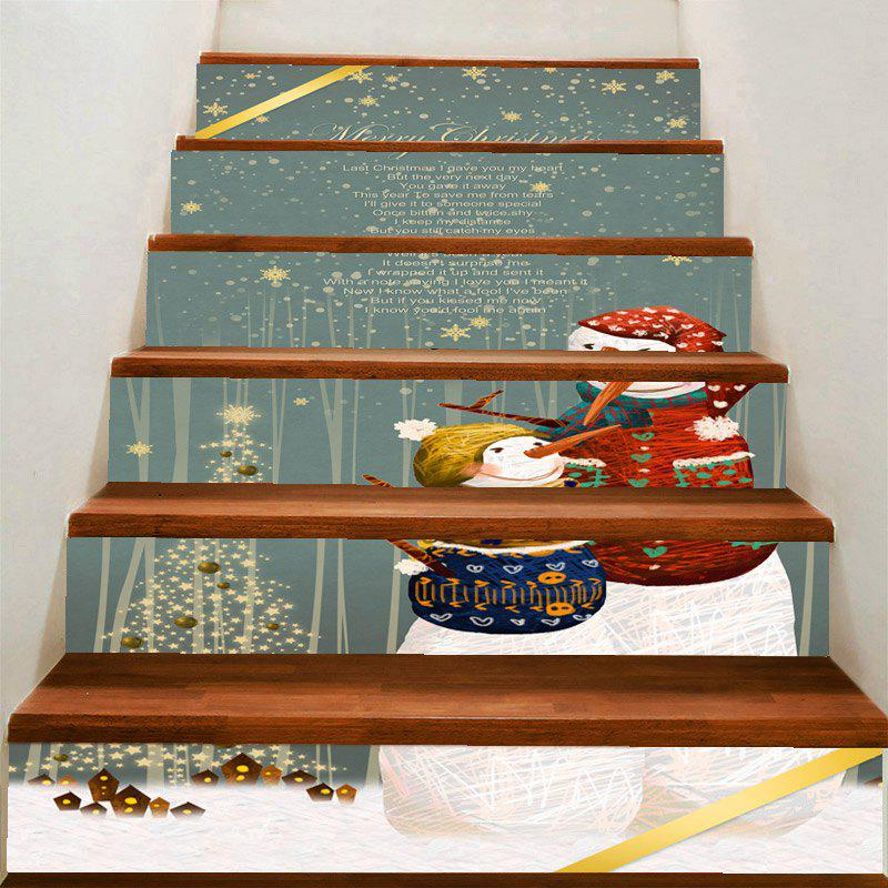 Mother and Son Snowman Printed Decorative Stair Stickers - COLORFUL 100*18CM*6PCS