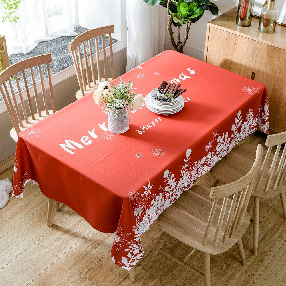 Christmas Greetings Print Waterproof Table Cloth - RED W60 INCH * L84 INCH