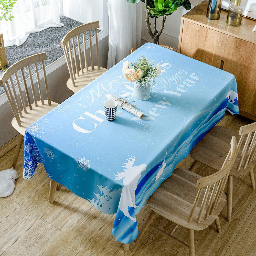 Christmas Happy New Year Print Waterproof Table Cloth - LIGHT BLUE W54 INCH * L72 INCH
