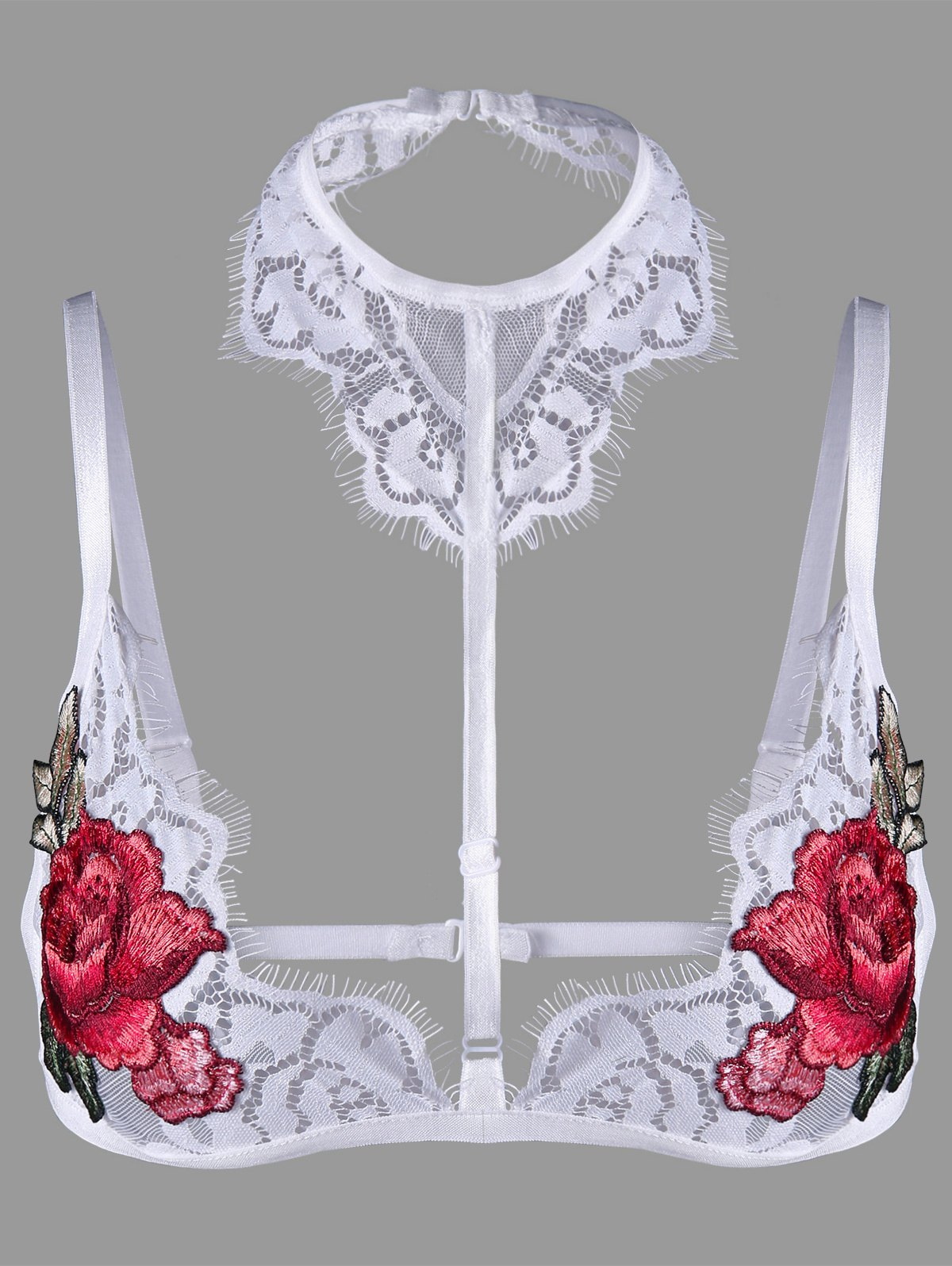 Lace Flower Embroidered Choker Bralette - WHITE L