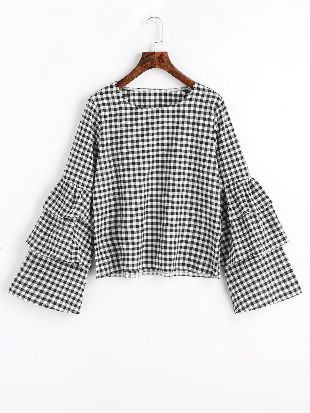 Layered Flare Sleeve Checked Blouse - CHECKED XL