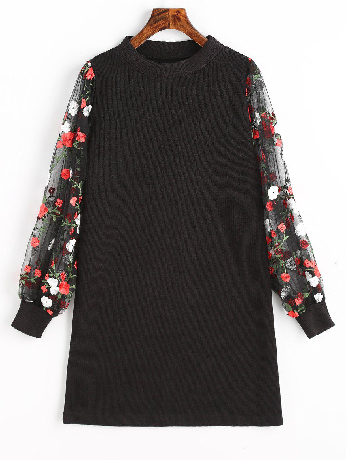 Mesh Panel Floral Mini Knit Dress - BLACK M