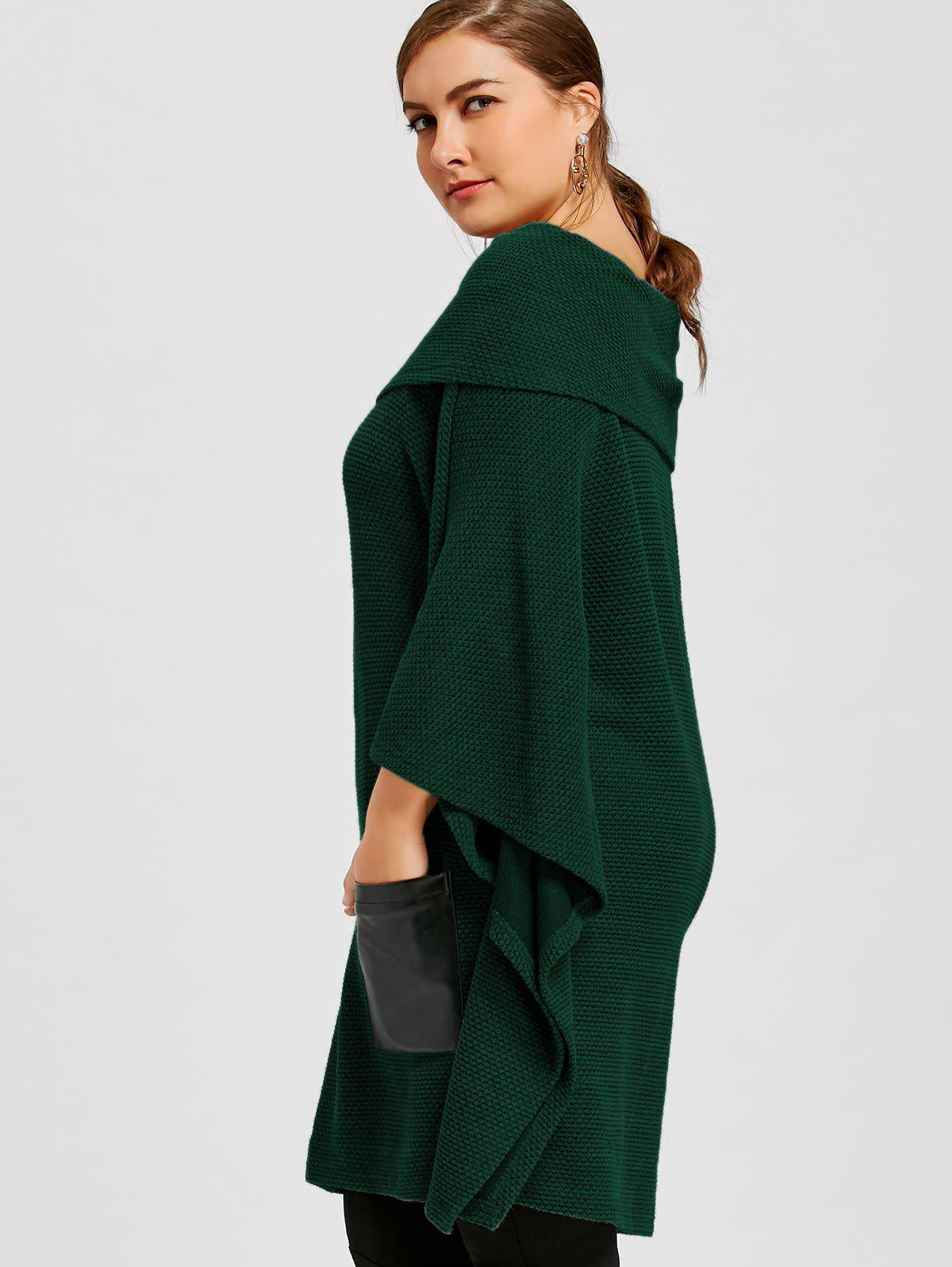 Plus Size Batwing Sleeve Off The Shoulder Top - GREEN 4XL