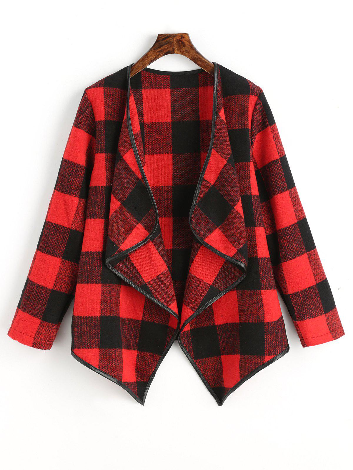 Draped Checked Asymmetric Coat - RED M