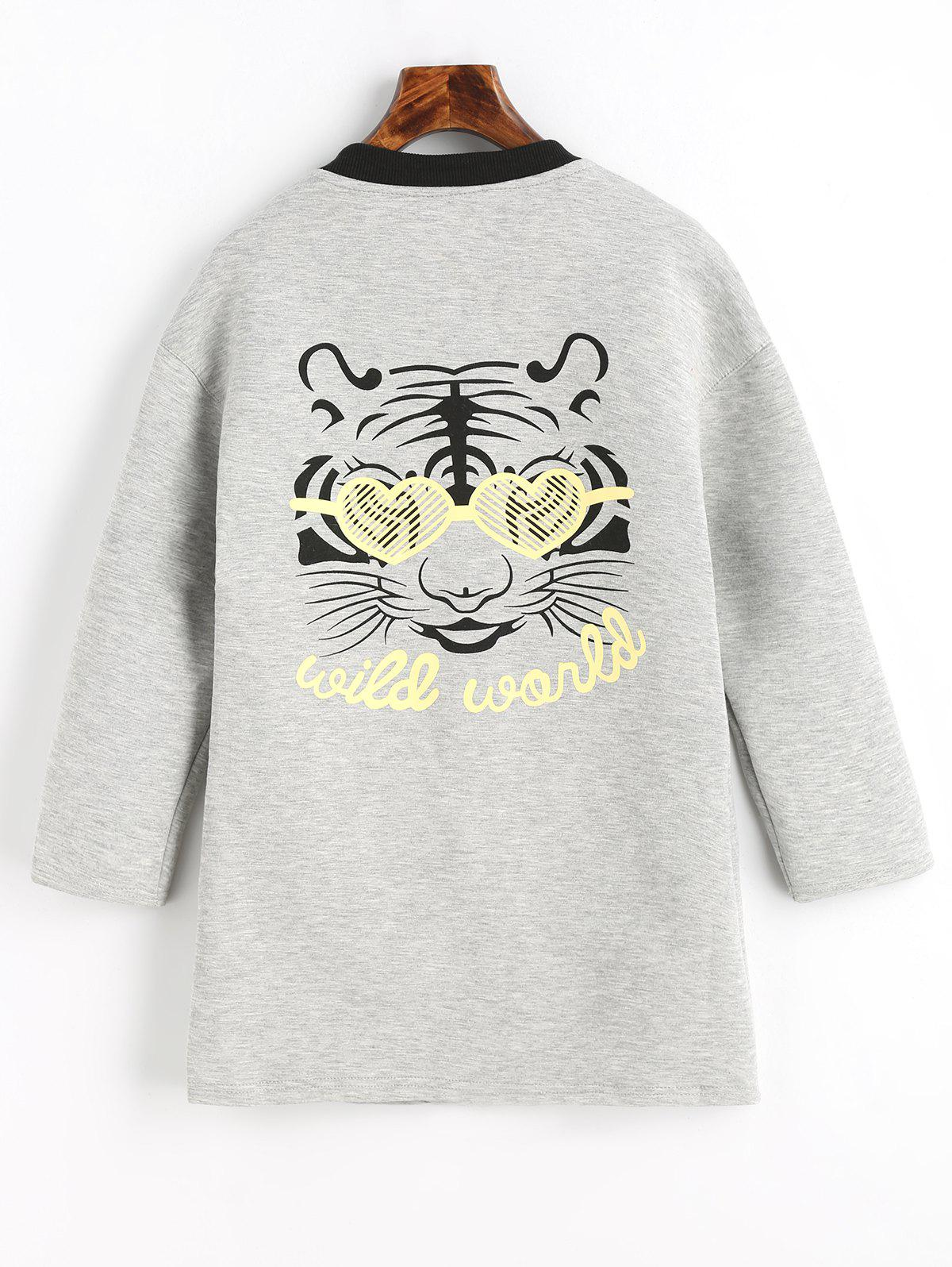 Snap Button Tiger Face Graphic Back Coat - GRAY L