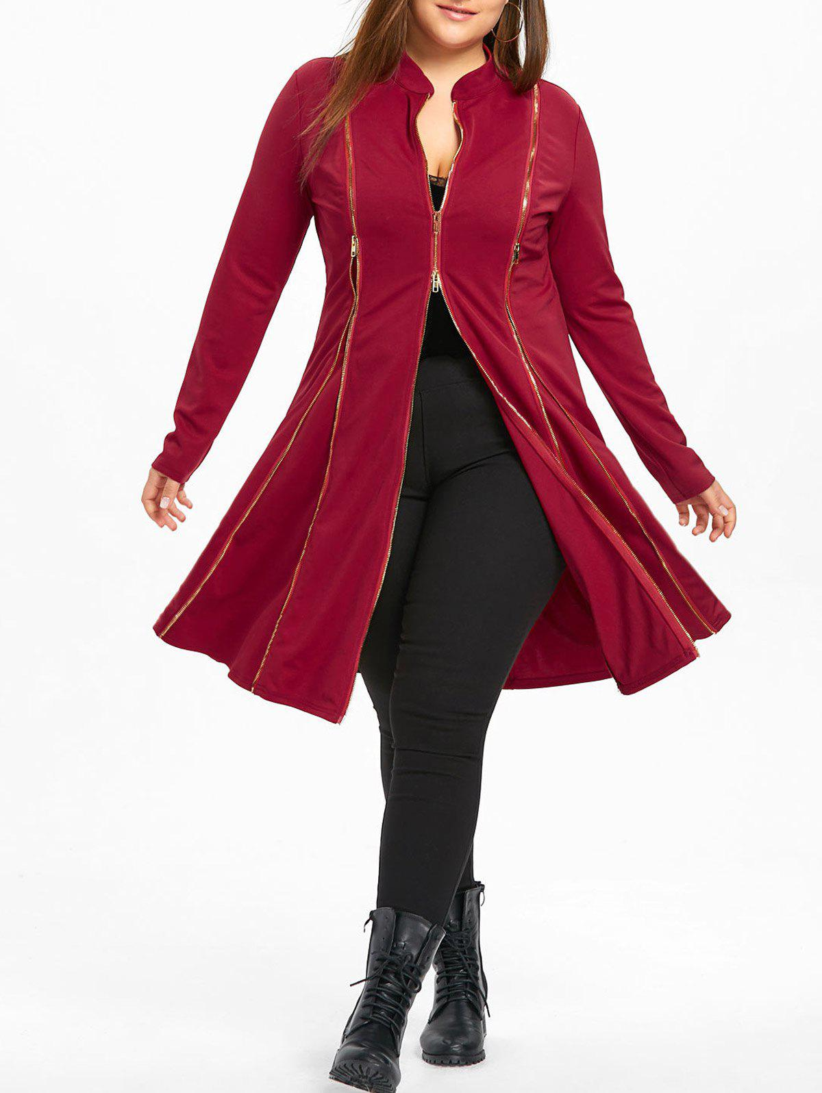 Plus Size Zipper Up Longline Coat - RED XL