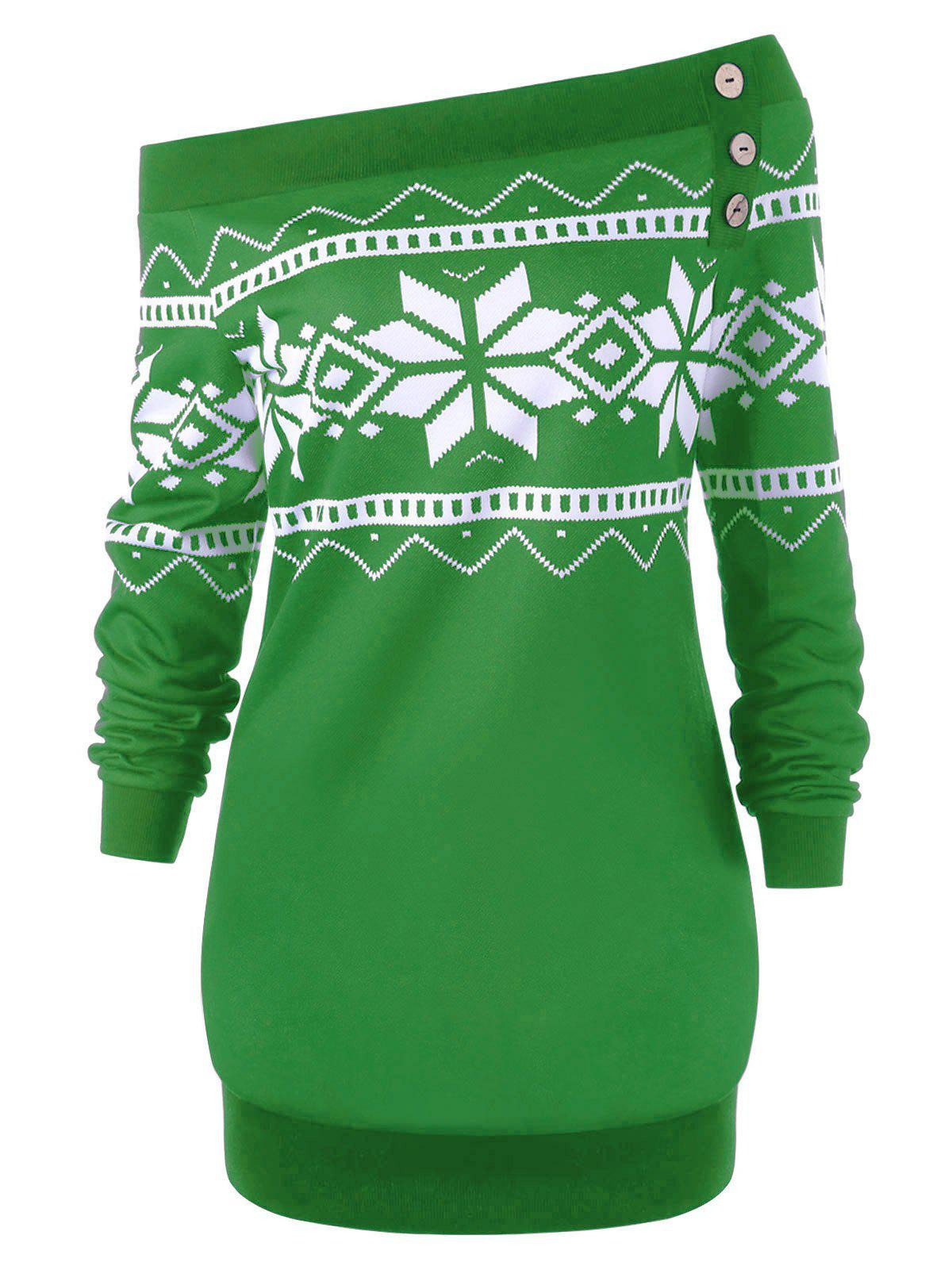 Plus Size Snowflake Geometric Skew Neck Pullover Sweatshirt - GREEN 4XL