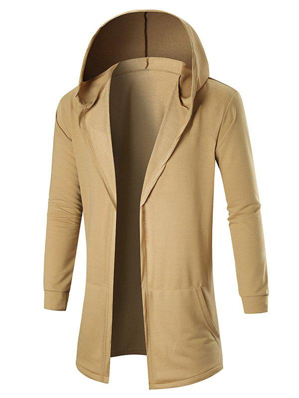Pockets Hooded Open Coat - KHAKI L
