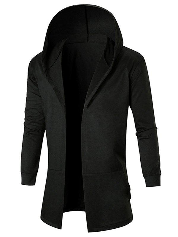 Pockets Hooded Open Coat - BLACK 2XL