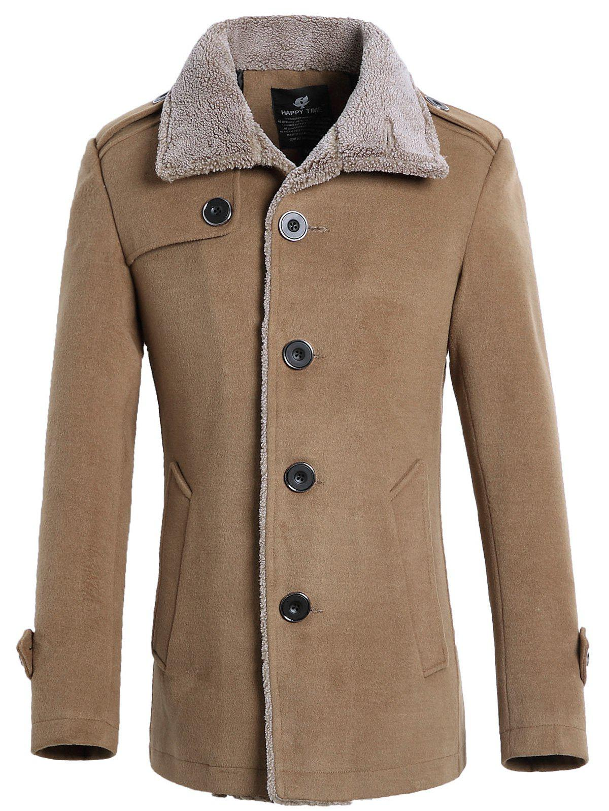 Fur-collar Single-breasted Wool Blend Jacket - KHAKI 2XL