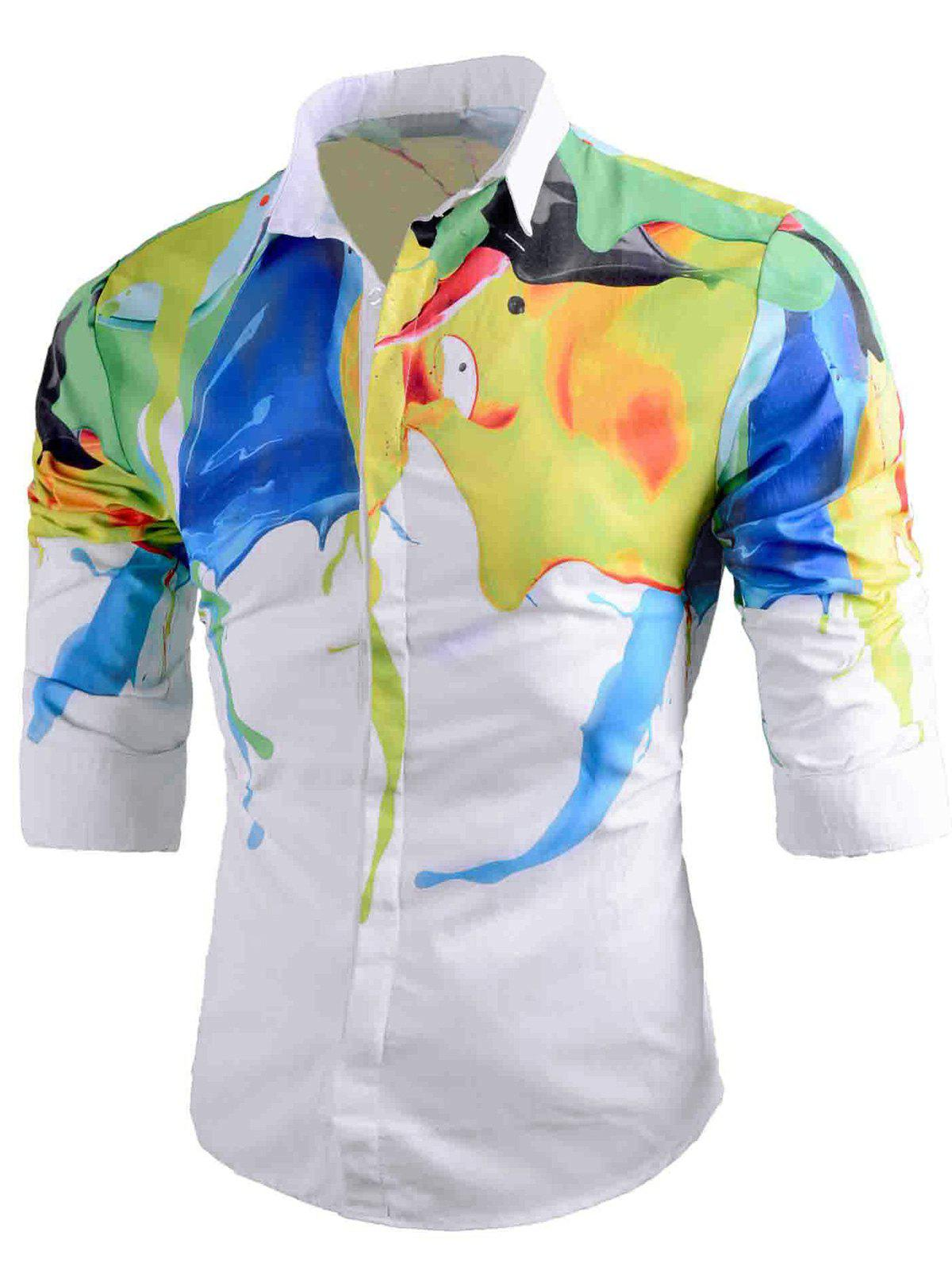 Abstract Painted Curve Hem Casual Shirt - WHITE L