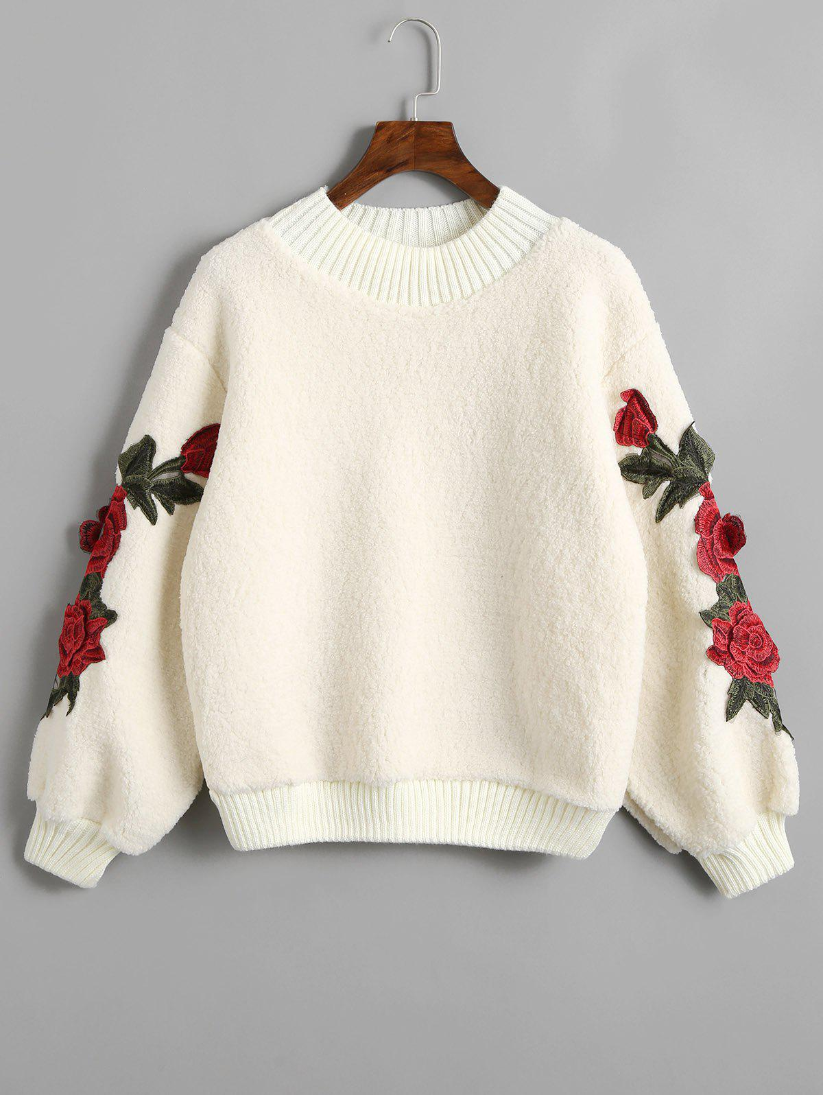 Flower Appliques Ribbed Hem Shearling Sweatshirt - OFF WHITE ONE SIZE