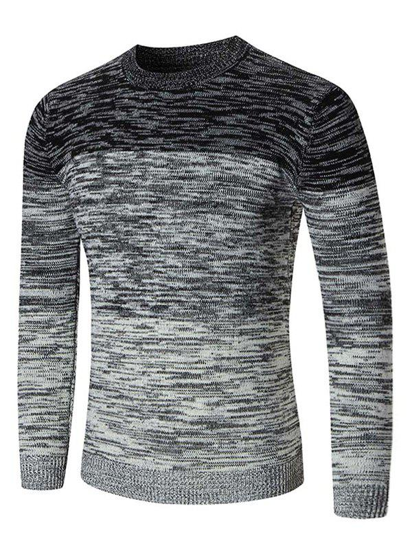 Ombre Space Dyed Crew Neck Sweater - BLACK XL