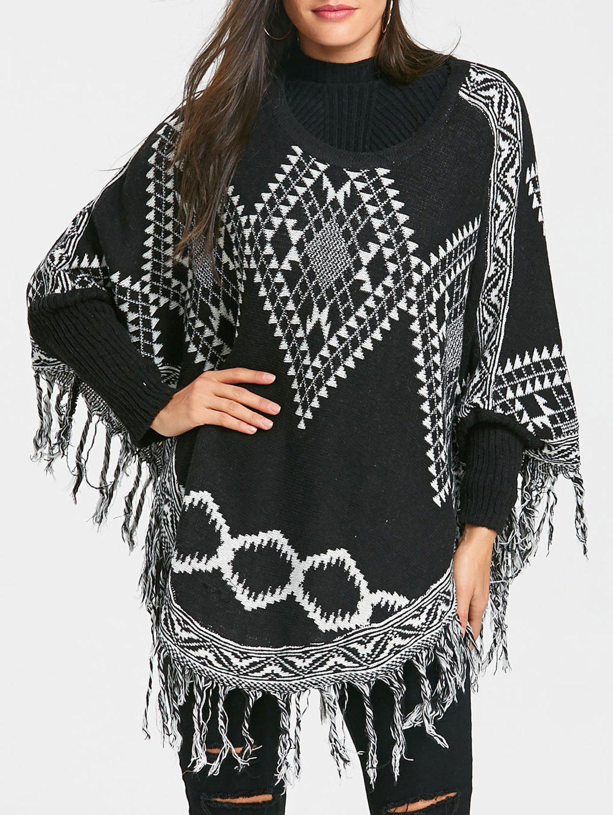 Fringed Argyle Tunic Poncho Sweater