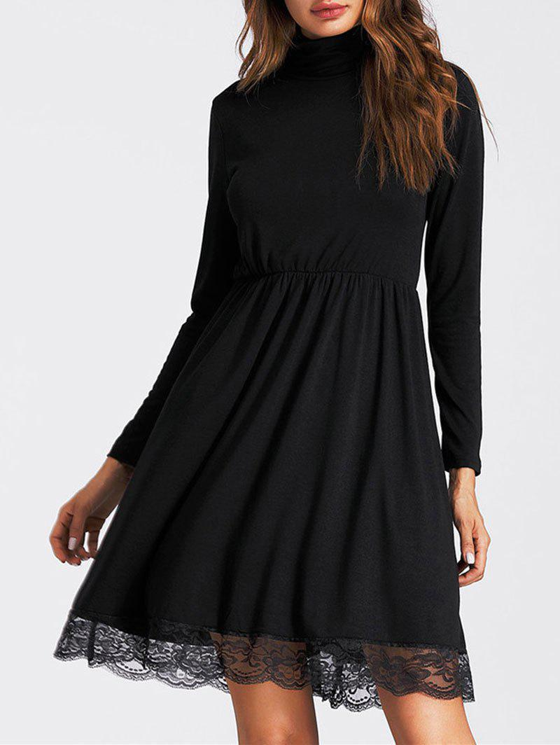 Lace Insert High Neck A Line Mini Dress lace insert mini a line party dress