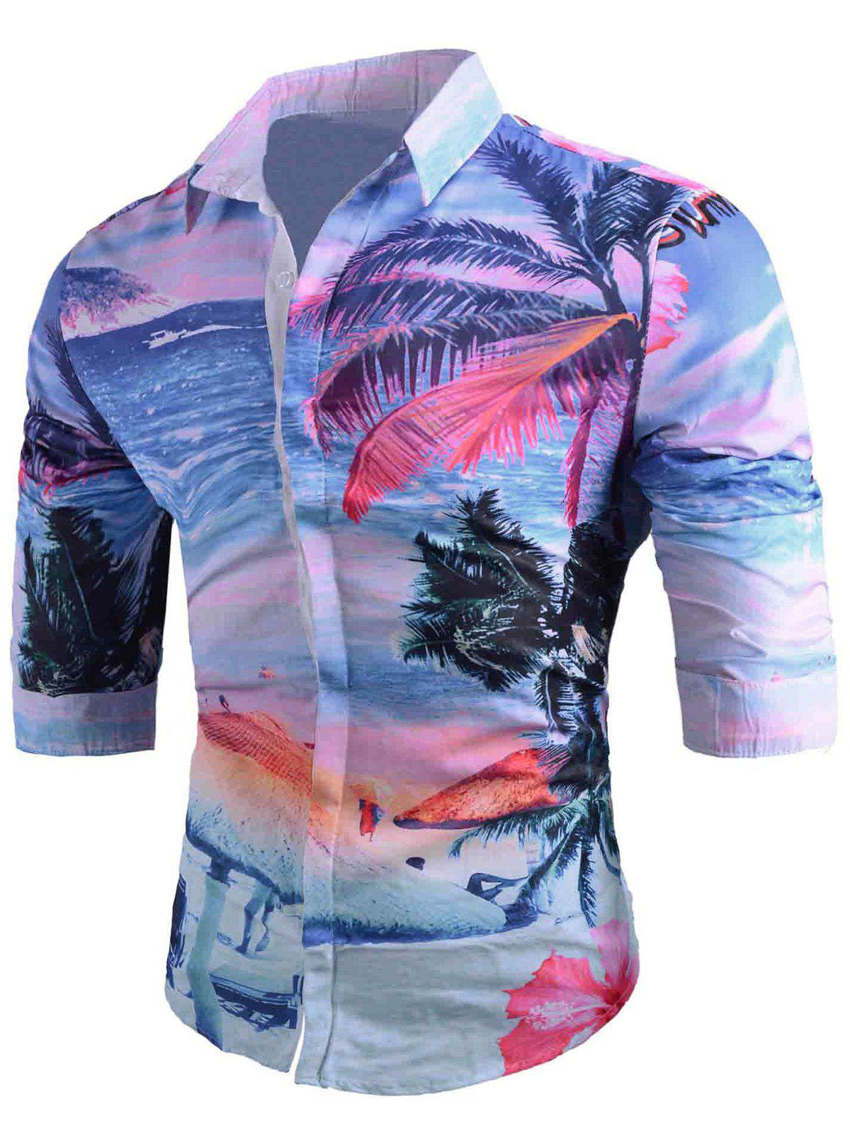 Sandbeach Coconut Tree Print Hawaiian Shirt - COLORMIX 2XL
