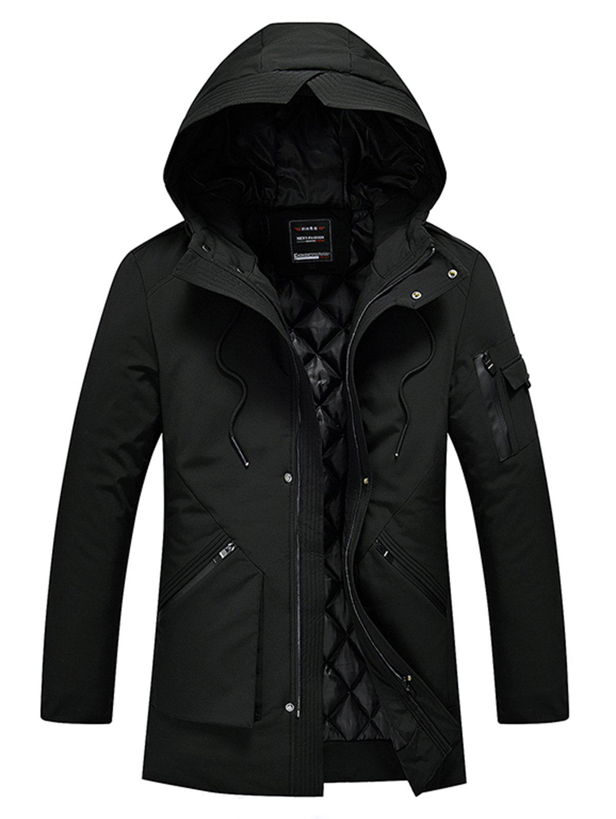 Zip Up Manteau à capuche rembourré - Noir 5XL