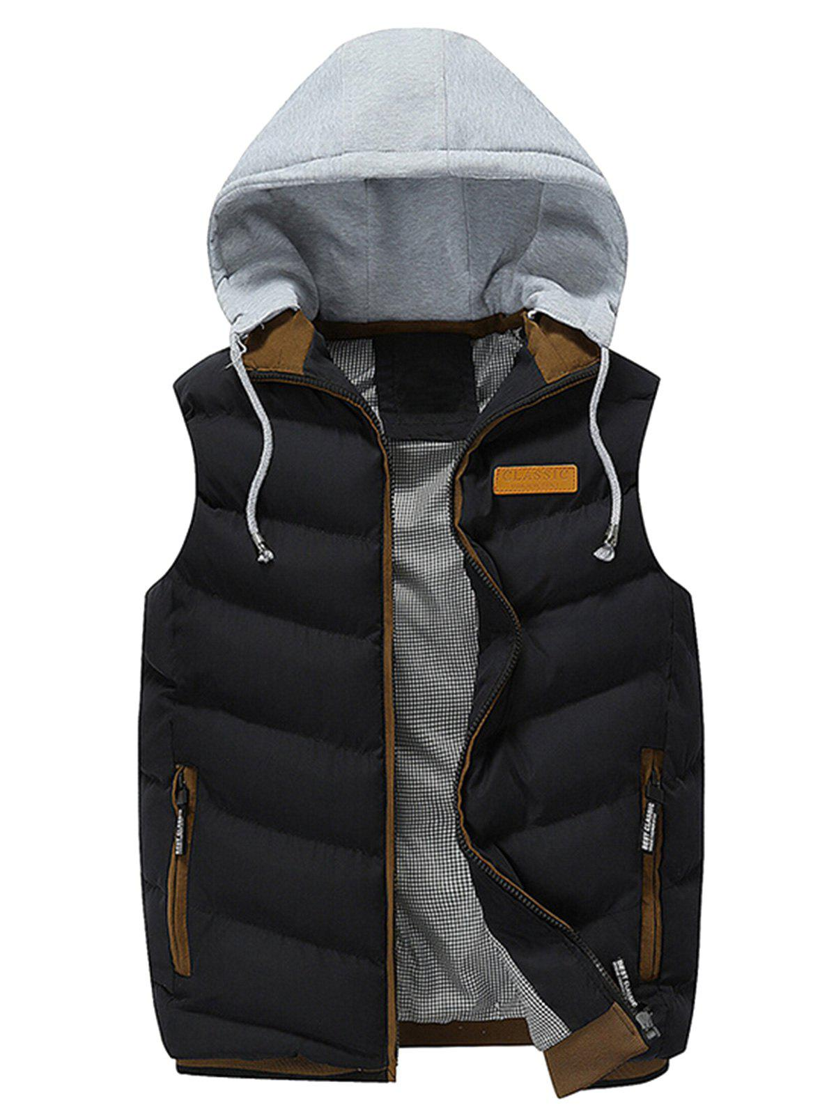 Lightweight Winter Warm Hooded Vest - BLACK 2XL
