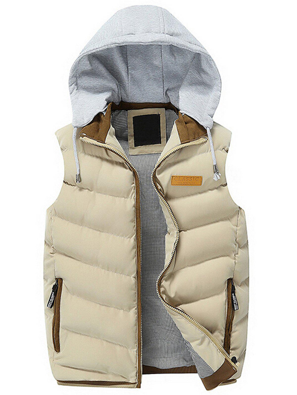 Lightweight Winter Warm Hooded Vest - KHAKI XL