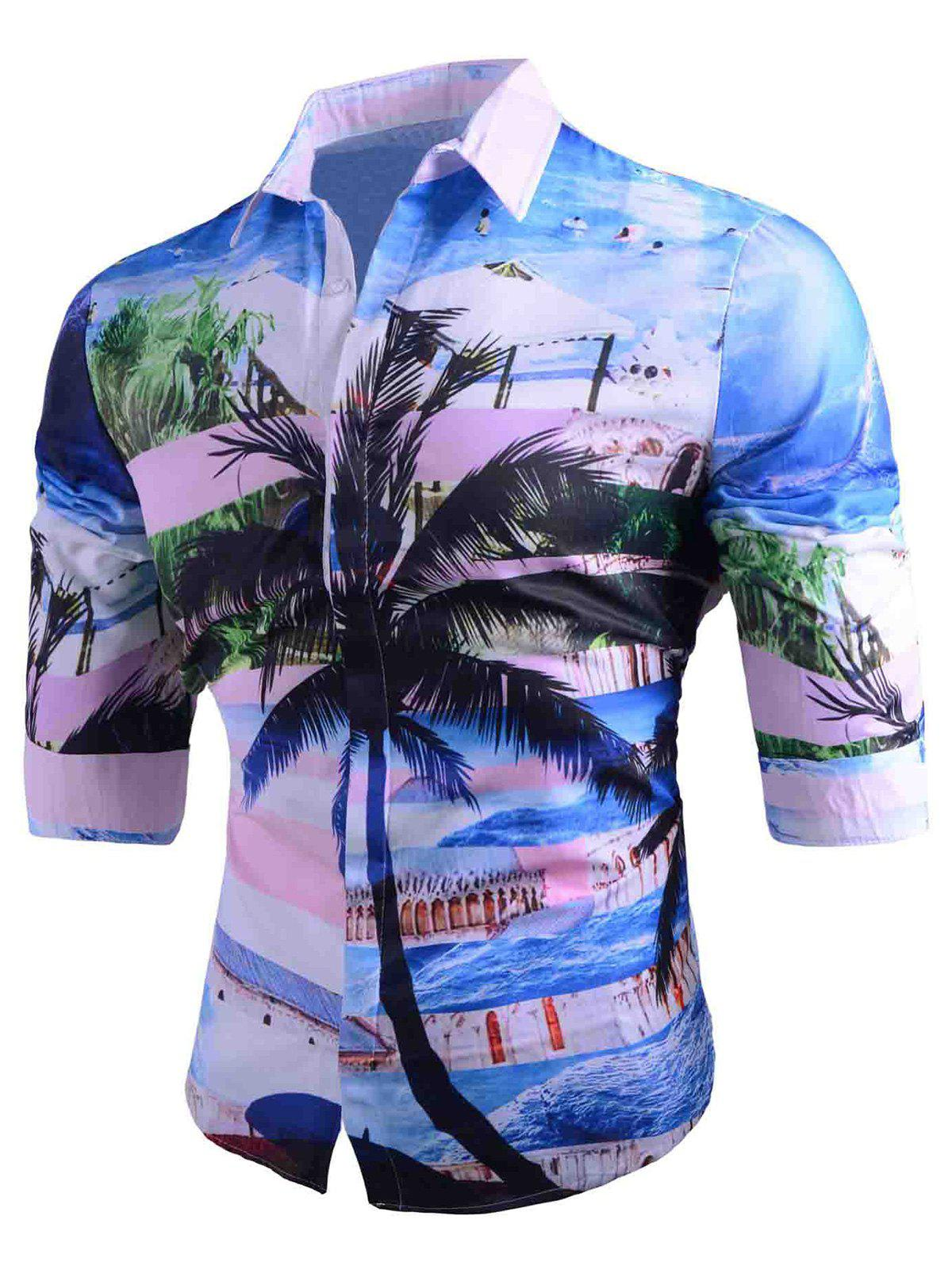 3D Coconut Tree Tropical Print Hawaiian Casual Shirt four color silk scarf excellent stage magic prop