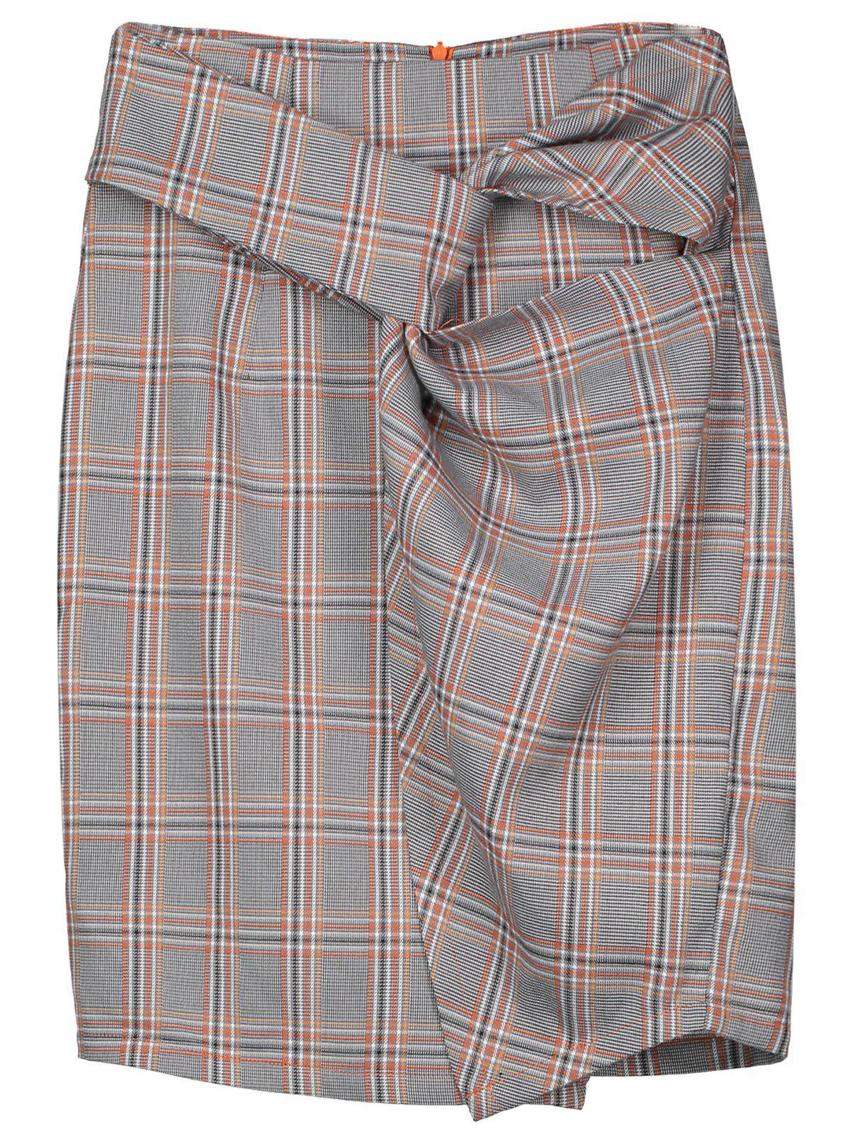 Twist Checked Pencil Skirt double breasted pencil skirt