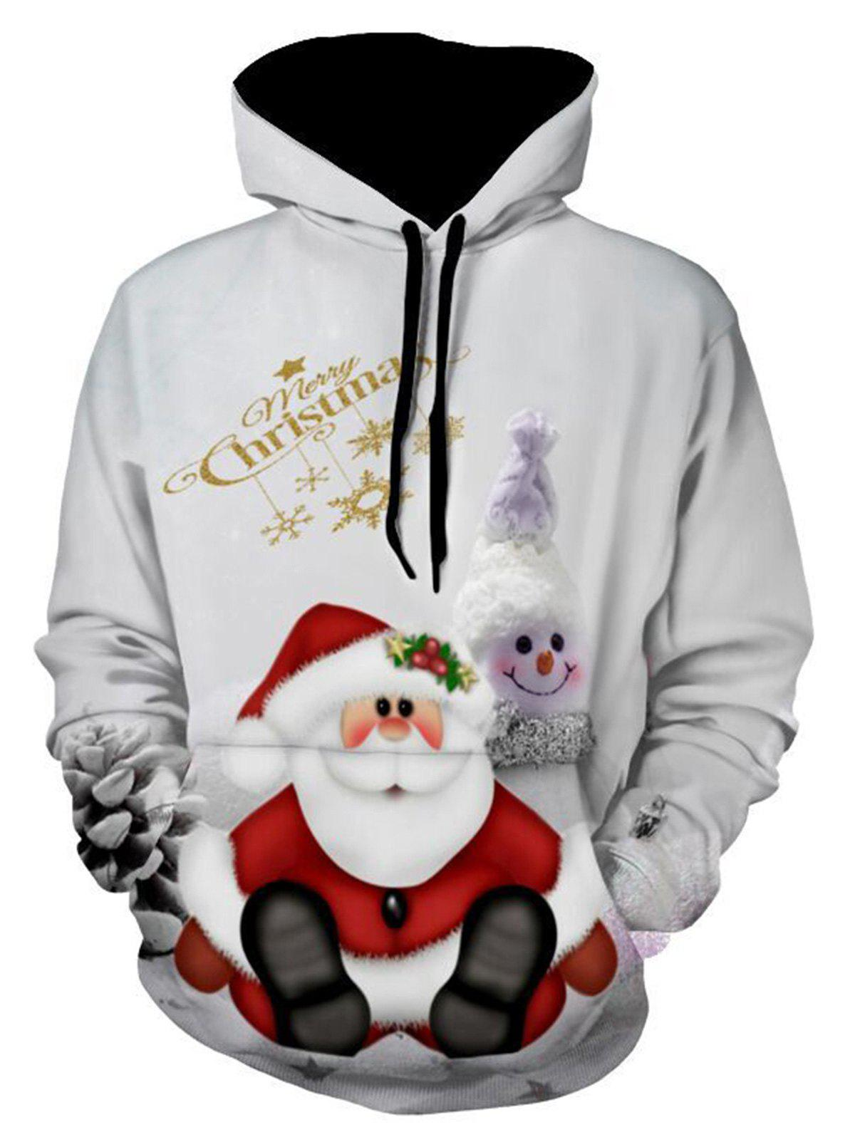 Snowman Print Christmas Pullover Hoodie - GRAY XL