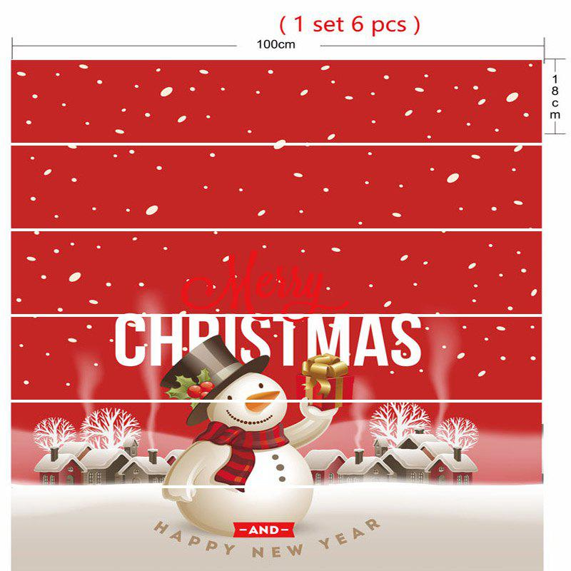 Merry Christmas Snowman Pattern Decorative Stair Stickers - RED 100*18CM*6PCS
