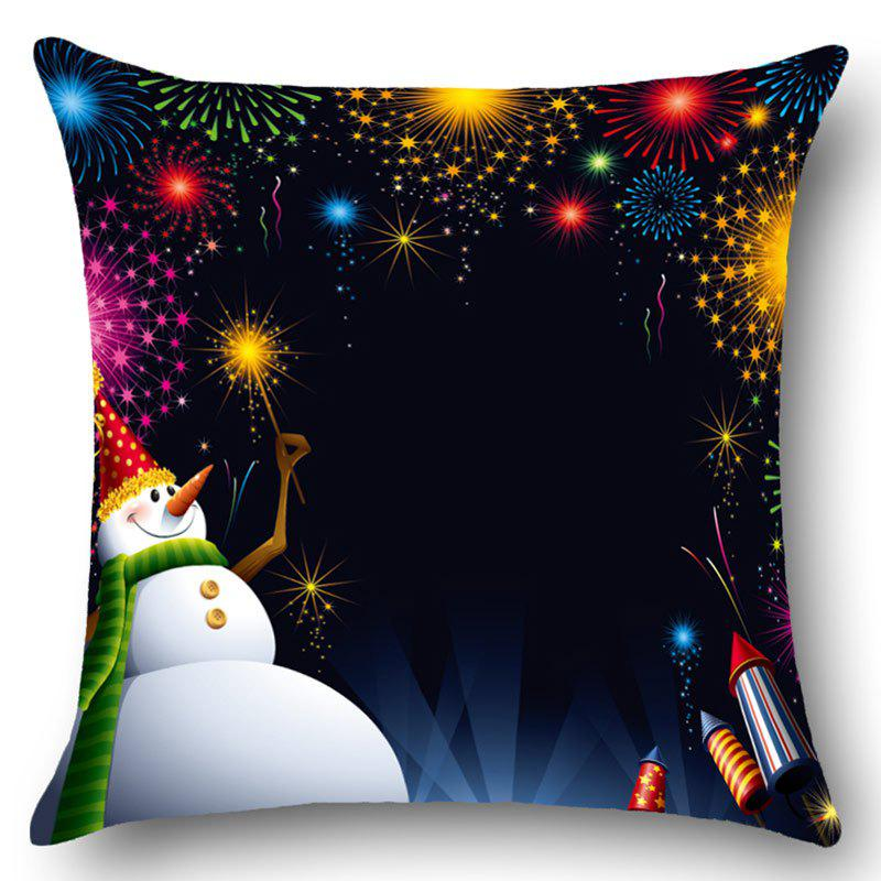 Home Decor Snowman Fireworks Pattern Throw Pillow Case merry christmas grass cushion throw pillow case