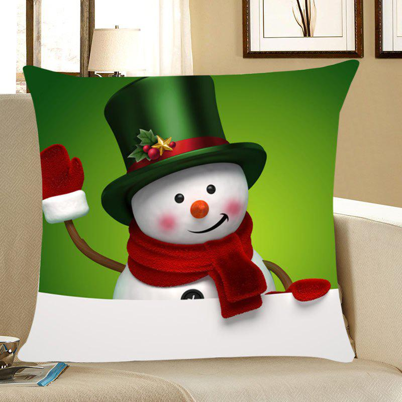 Christmas Snowman Printed Throw Pillow Case - GREEN W12 INCH * L20 INCH