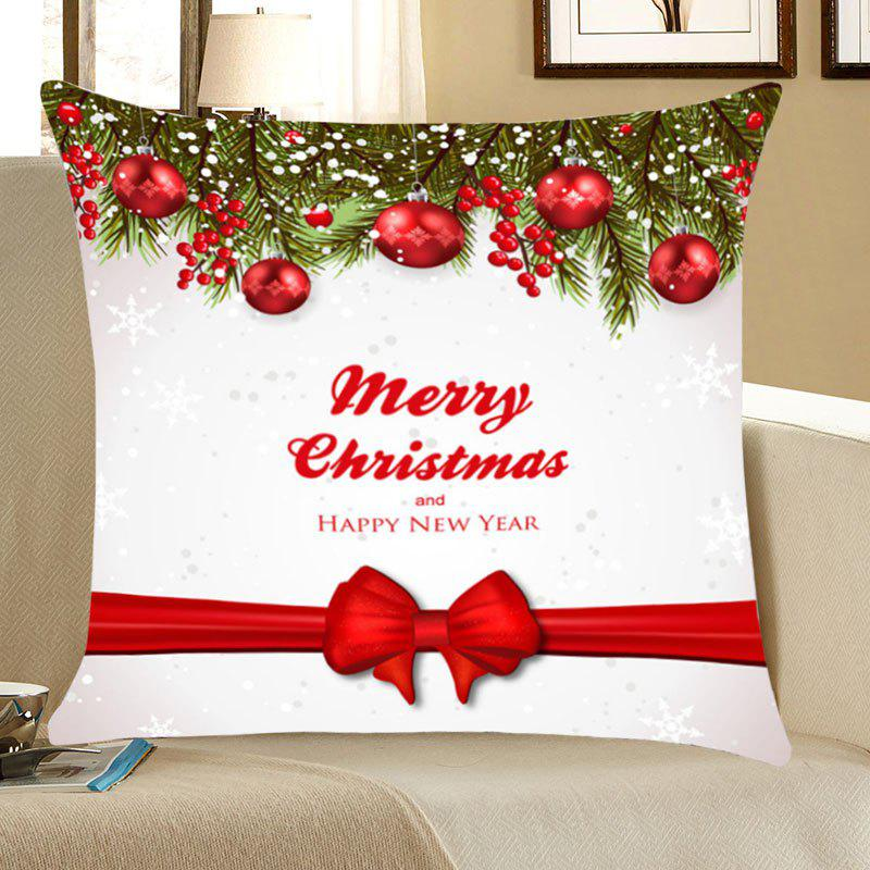 40 Christmas Balls Bowknot Belt Printed Throw Pillow Case RED Delectable Red And White Christmas Throw Blanket