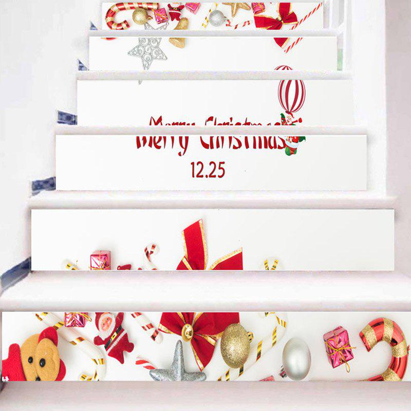 Christmas Elements Printed Home Decor Stair Stickers - WHITE 100*18CM*6PCS