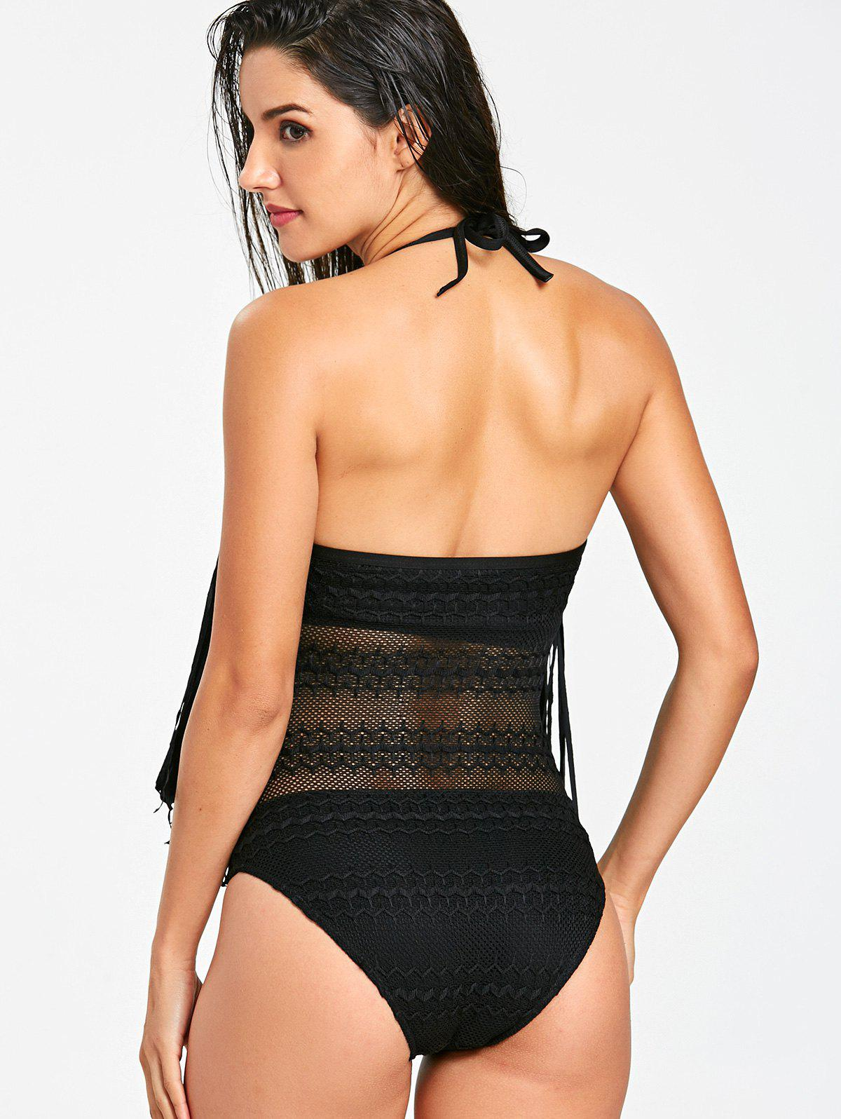 Fringed Lace One Piece Swimsuit - BLACK XL