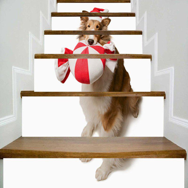 Cute Dog Wearing Christmas Hat Print Decorative Stair Stickers - WHITE 100*18CM*6PCS