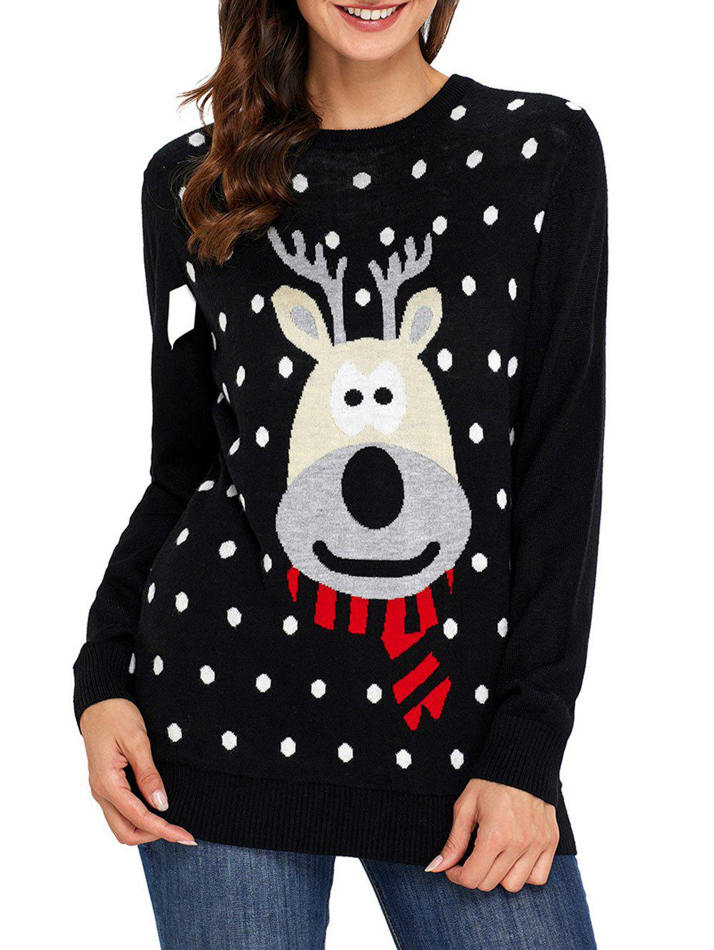 Christmas Deer and Polka Dot Jacquard Sweater christmas letter and deer jacquard sweater
