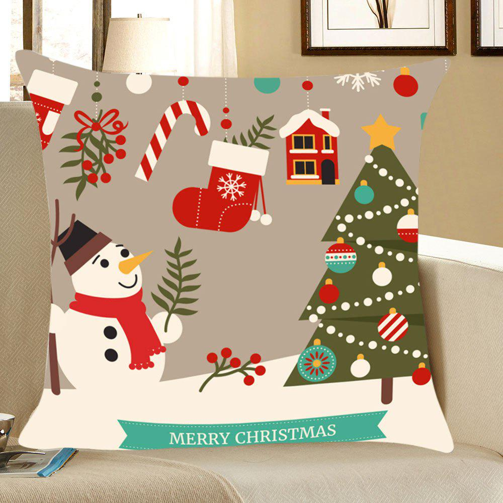 Christmas Decorations Snowman Printed Throw Pillow Case linen christmas snowman printed home decor pillow case