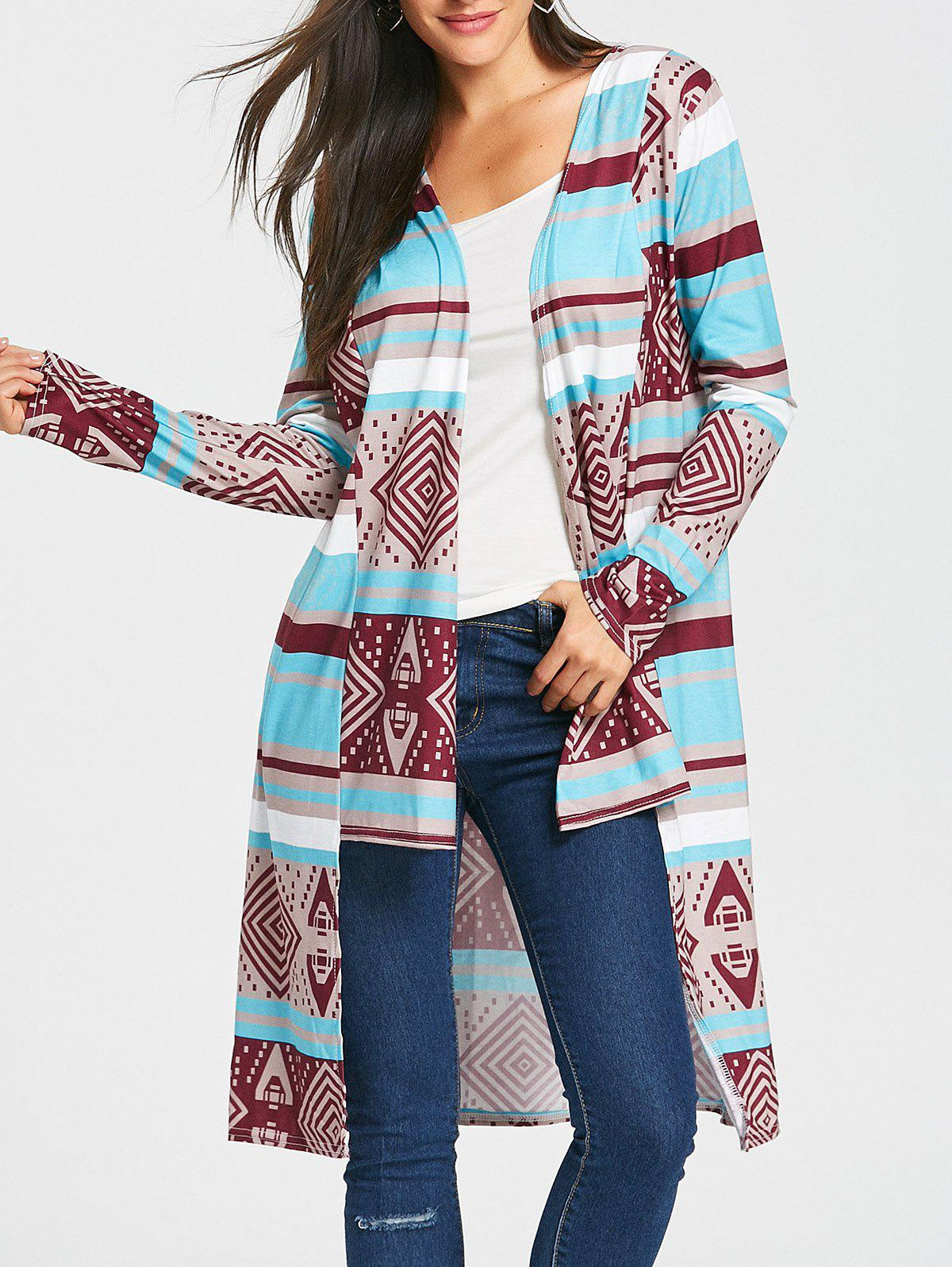 Stylish Long Sleeve Collarless Spliced Women's Desert Bloom Cardigan 156238701