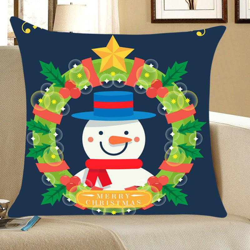 Christmas Garland Snowman Printed Throw Pillow Case cartoon snowman printed christmas throw pillow cover