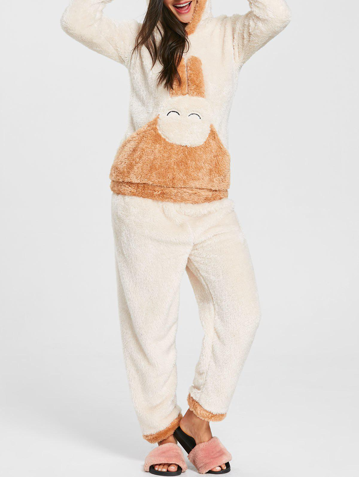 Fuzzy Hooded Bunny Pajamas Set - OFF WHITE XL