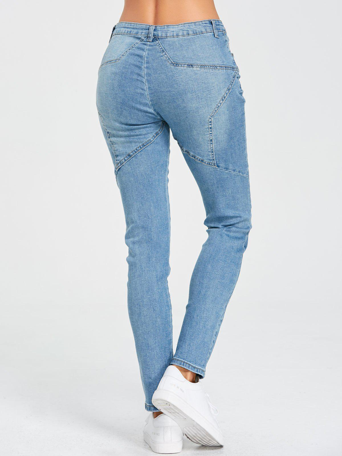 Star Patchwork High Rise Jeans - BLUE XL